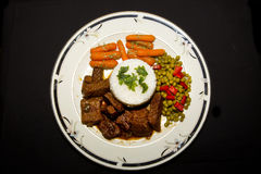 Pontas e arroz da carne Fotografia de Stock