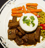 Pontas e arroz da carne Imagens de Stock Royalty Free