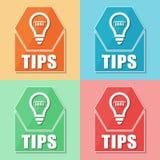 Pontas e símbolo do bulbo, quatro ícones da Web das cores Fotografia de Stock Royalty Free