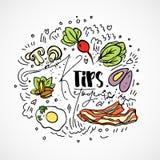 Pontas Ketogenic - ilustração do esboço do vetor - conceito saudável multi-colorido do esboço Pontas saudáveis da dieta do keto c ilustração stock
