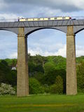 Narrowboat crossing the Pontcysyllte aqueduct Stock Photo