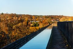 Pontcysyllte Aqueduct with Llangollen Canal in Wales, UK. Pontcysyllte Aqueduct is a navigable aqueduct that carries the Llangollen Canal across the River Dee in stock image