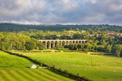 Pontcysyllte aqueduct in North Wales. View of Pontcysyllte Aqueduct which carries Llangollen canal high above the River Dee Stock Photography