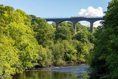Pontcysyllte Aqueduct, Wrexham, Wales, UK. Pontcysyllte, Wrexham, Wales, UK - August 31, 2016: View from the Gate Road bridge at the River Dee, with people Royalty Free Stock Photos