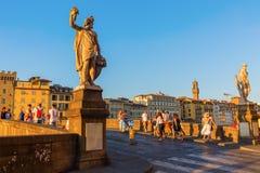 Ponte圣诞老人Trinita在佛罗伦萨,意大利 库存图片