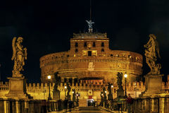 Ponte και castel Sant ` Angelo, Ρώμη Στοκ Εικόνα