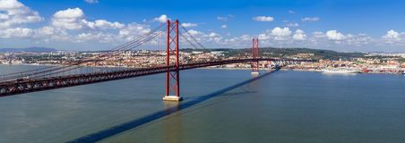 Ponte 25 De Abril Bridge In Lisbon, Portugal. Connects The Cities Of Lisbon And Almada Crossing The Tagus River Stock Image
