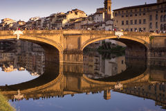 Ponte Ala Grazie, Florence. WS - The Ponte Ala Grazie bridge over the River Arne - Flume Arno in the heart of Florence - Firenze - italy. Golden Hour royalty free stock photography
