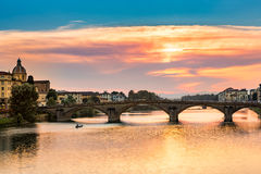 Ponte all Carraia at sunset Stock Photo