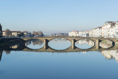 Ponte alla Carraia bridge on the Arno river in Florence stock images
