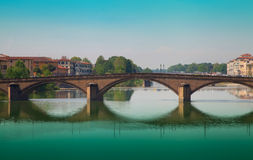 Ponte alla Carraia bridge at sunset Royalty Free Stock Photography