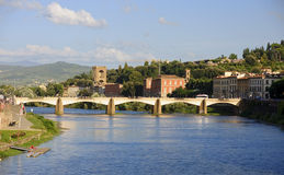 Ponte alle Grazie bridge on Arno river in Florence. Italy stock images