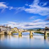 Ponte alle Grazie bridge on Arno river, sunset landscape. Floren Stock Photography