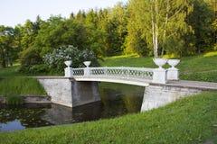 Ponte antico sopra il fiume nel parco St Petersburg di Pavlovsk Immagini Stock Libere da Diritti