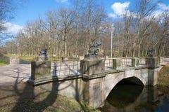 Ponte antiga dos dragões no Tsarskoe Selo em um primeiro de maio ensolarado St Petersburg, Rússia Imagens de Stock
