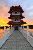 A ponte ao Pagoda imagens de stock royalty free