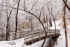 Ponte após a queda de neve Fotos de Stock