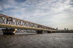 Ponte attraverso Danubio - Belgrado, Serbia fotografia stock