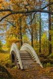Ponte attraverso il canale nel parco di autunno immagine stock libera da diritti