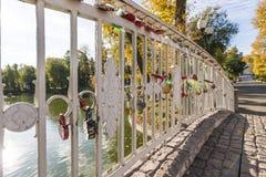 Ponte attraverso lo stagno con le isole nel parco di autunno Fotografia Stock Libera da Diritti