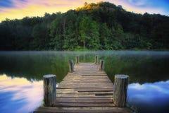 Ponte boscoso sopra il fiume nel parco del ung della fitta fotografia stock
