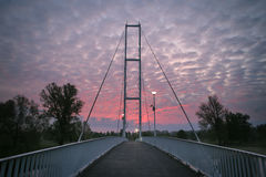 Ponte branca no nascer do sol Imagem de Stock