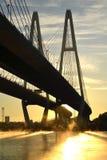 ponte Cabo-apoiada através do rio Neva Imagem de Stock Royalty Free