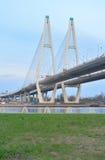 ponte Cabo-apoiada através do rio Neva imagens de stock royalty free