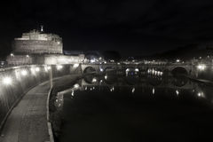 Ponte and Castle Sant Angelo, bridge in Rome. Italy. Black White Royalty Free Stock Images