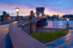 Ponte a catena dal lato di Buda, Budapest, Ungheria Fotografia Stock Libera da Diritti