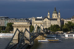 Ponte a catena di Szechenyi - Budapest - Ungheria Fotografia Stock