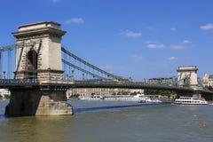 Ponte a catena di Szechenyi - Budapest - Ungheria Fotografie Stock Libere da Diritti