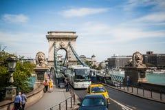 Ponte a catena di Szechenyi di Budapest Fotografia Stock