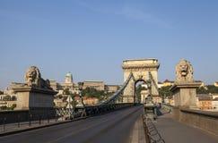 Ponte a catena e Buda Castle a Budapest immagini stock