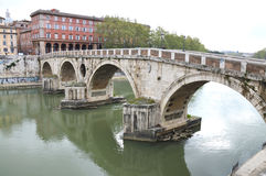 Ponte Cestio. (Cestius Bridge) leads frm Trastervere to Tiber Island, Rome. Photo taken April 2015 Stock Image