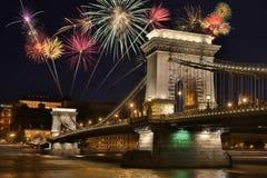 Ponte Chain - Budapest - Hungria fotografia de stock