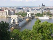 Ponte chain de Budapest Imagens de Stock