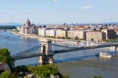 Ponte Chain e Danube River em Budapest Foto de Stock Royalty Free