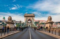 A ponte Chain em Budapest imagem de stock