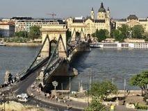Ponte Chain sobre Danúbio em Budapest Imagens de Stock Royalty Free