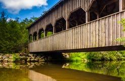A ponte coberta acima das quedas altas, na floresta do estado de Du Pont, nem foto de stock