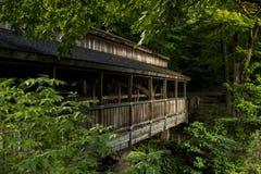Ponte coberta - parque da angra do moinho, Youngstown, Ohio fotografia de stock