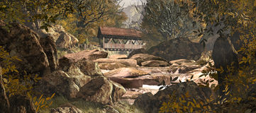 Ponte coberta velha rio acima ilustração royalty free