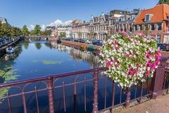 Ponte com as flores no centro histórico de Haarlem Fotografia de Stock Royalty Free