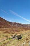 Ponte com grama seca e montanha em Escócia Foto de Stock