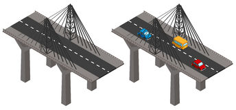 Ponte con le automobili e senza illustrazione vettoriale