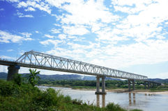 Ponte da amizade de Laos-Myanmar primeira Fotos de Stock Royalty Free