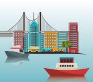Ponte da arquitetura da cidade do porto dos barcos ilustração do vetor