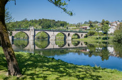 Ponte da Barca Portugal. The bridge over the river Lima in the historic town of Ponte da Barca, Portugal royalty free stock image