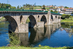 Ponte da Barca Portugal. The bridge over the river Lima in the historic town of Ponte da Barca, Portugal royalty free stock photography